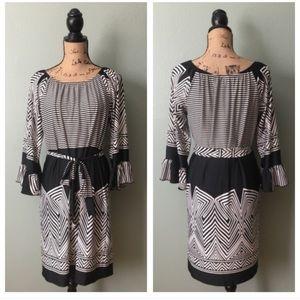 MSK size medium black white striped dress!